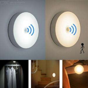 6-LED PIR Motion Sensor Night Light Auto On/Off For Bedroom Stairs Cabinet Wardrobe, Wireless USB Rechargeable Wall Lamp