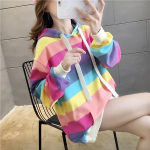 Womens Long Sleeve Rainbow Striped Hoodies Loose Thickened Colorblock Pullover Sweatshirts With Pockets