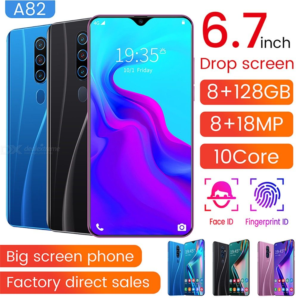 A82 6.7 Inch Large Screen Dual SIM Dual Standby Smartphone With 2GB RAM 16GB ROM, Support Face Unlock Google Play - EU Plug