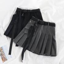 Women's A-line Pleated Skirt Short Summer Chic Cool BF Style Solid Color High Waist Mini Skirt