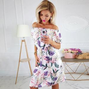 Summer autumn party vestidos Sexy women off shoulder flower mini dress