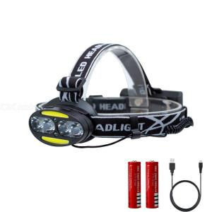 2504 T6 + COB + LED 8 Lights 2000LM 7-Mode Bright Headlight, USB Charging Waterproof COB Headlamp with 18650 Battery