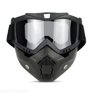 Motorcycle Goggles With Detachable Mask, Sports Ski Snowboard Cycling Face Mask Eye Glasses
