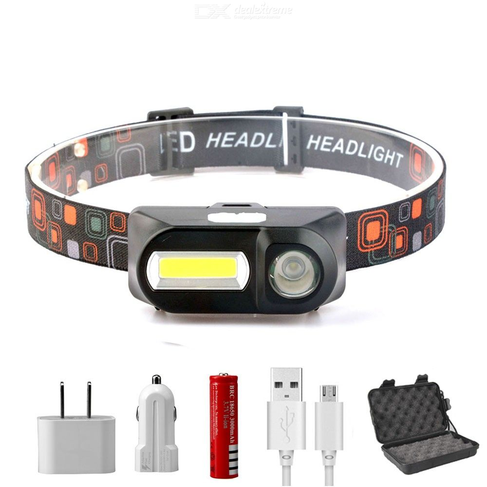 T705 USB Rechargeable LED Headlight Outdoor Strong Light Emergency Head-mounted COB Headlight with 18650 Battery Kit