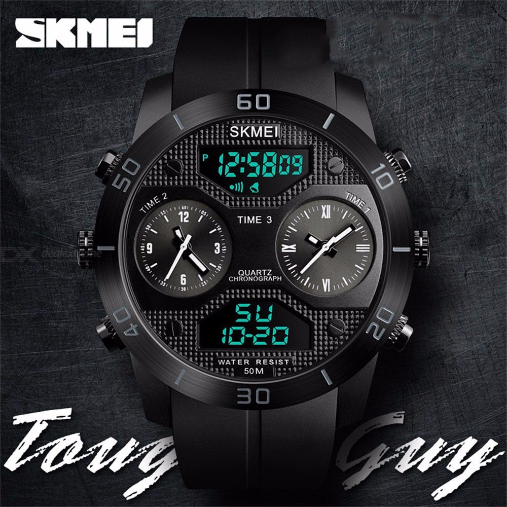 SKMEI Multifunction Waterproof Three Time Zone Mens Watch Student Electronic Watches