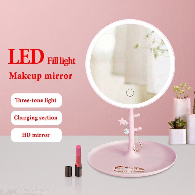 LED Lighted Makeup Mirror Rechargeable Dimmable 120° Rotatable Vanity Mirror With Jewelry Storage Hanger Tray