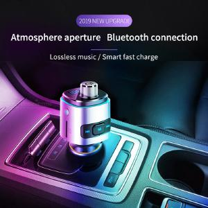 Bluetooth Car Kit FM Transmitter Audio Adapter With 2 USB Ports Voltmeter