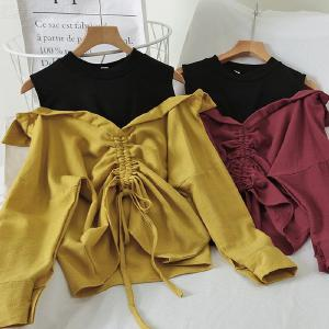 Fake Two Pieces Solid Color Blouse Casual Womens Tops