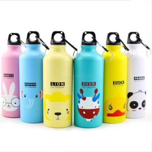 500ML Cute Metal Sports Water Bottle Portable Cartoon Animal Cups Child Student Adult Drink Bottles For Outdoor Travel