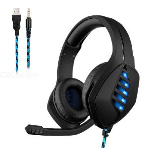 J1 Stereo Gaming Headset Over Ear Wired Game Headphones With Mic LED Light Surround Sound For Laptop PC