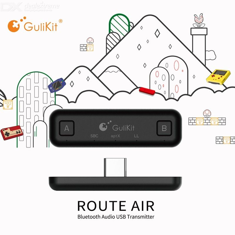GuliKit Type C NS07 Route Air Wireless Audio Adapter Bluetooth Transmitter For Nintendo Switch For Switch Lite PS4 PC - Black