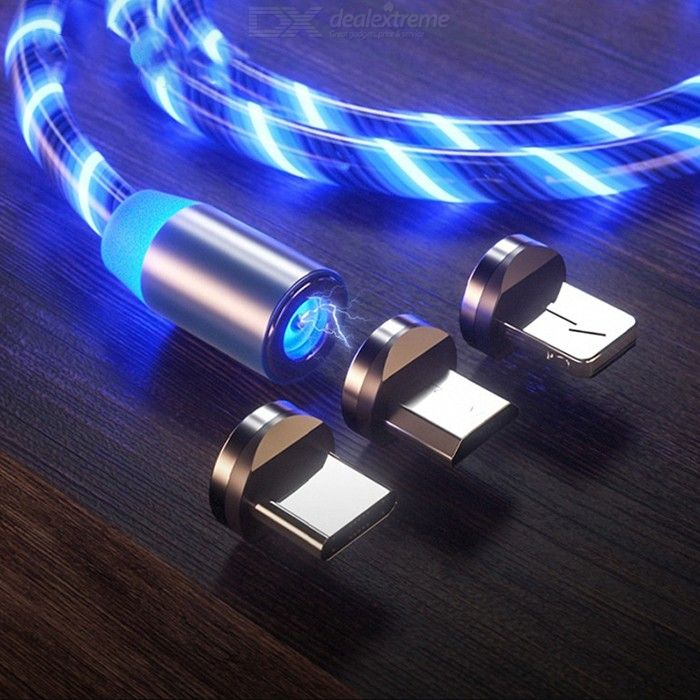 Glow LED 3 In 1 Lightning Fast Charging Magnetic USB Type C Cable Magnetic Cable USB Micro Charger Cable