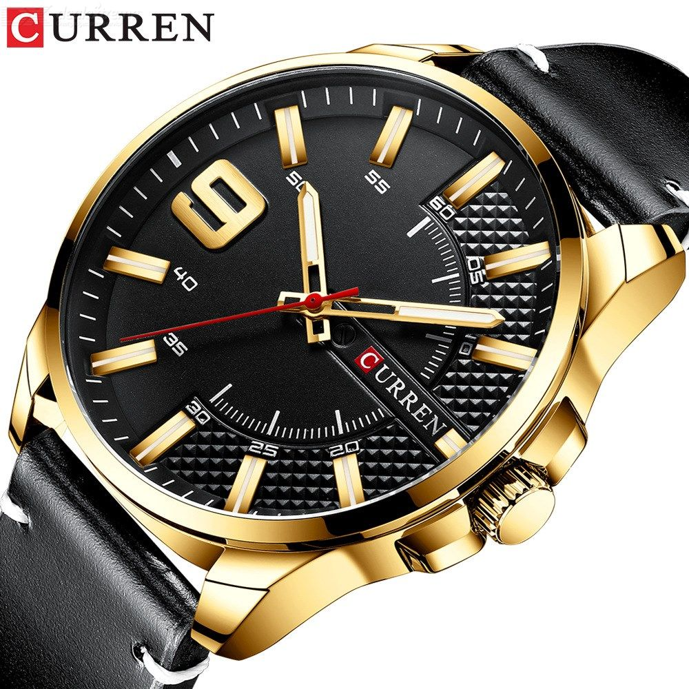 Curren 8371 3ATM Waterproof Business Men Quartz Wristwatch Sports Watch With Leather Strap, Calendar Function