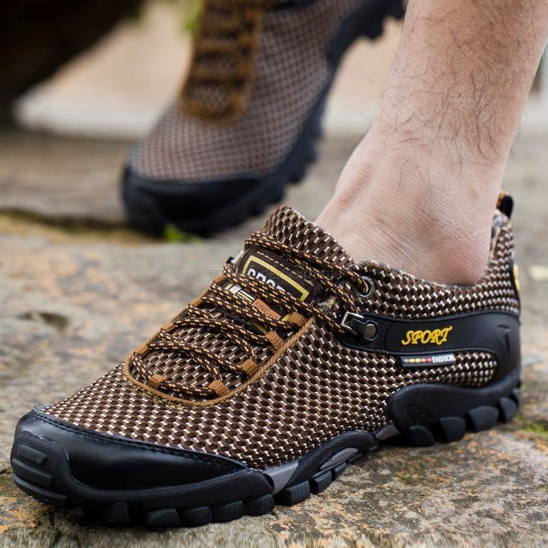 Mens Breathable Hiking Shoes Outdoor Non-Slip Lace-Up Sneakers