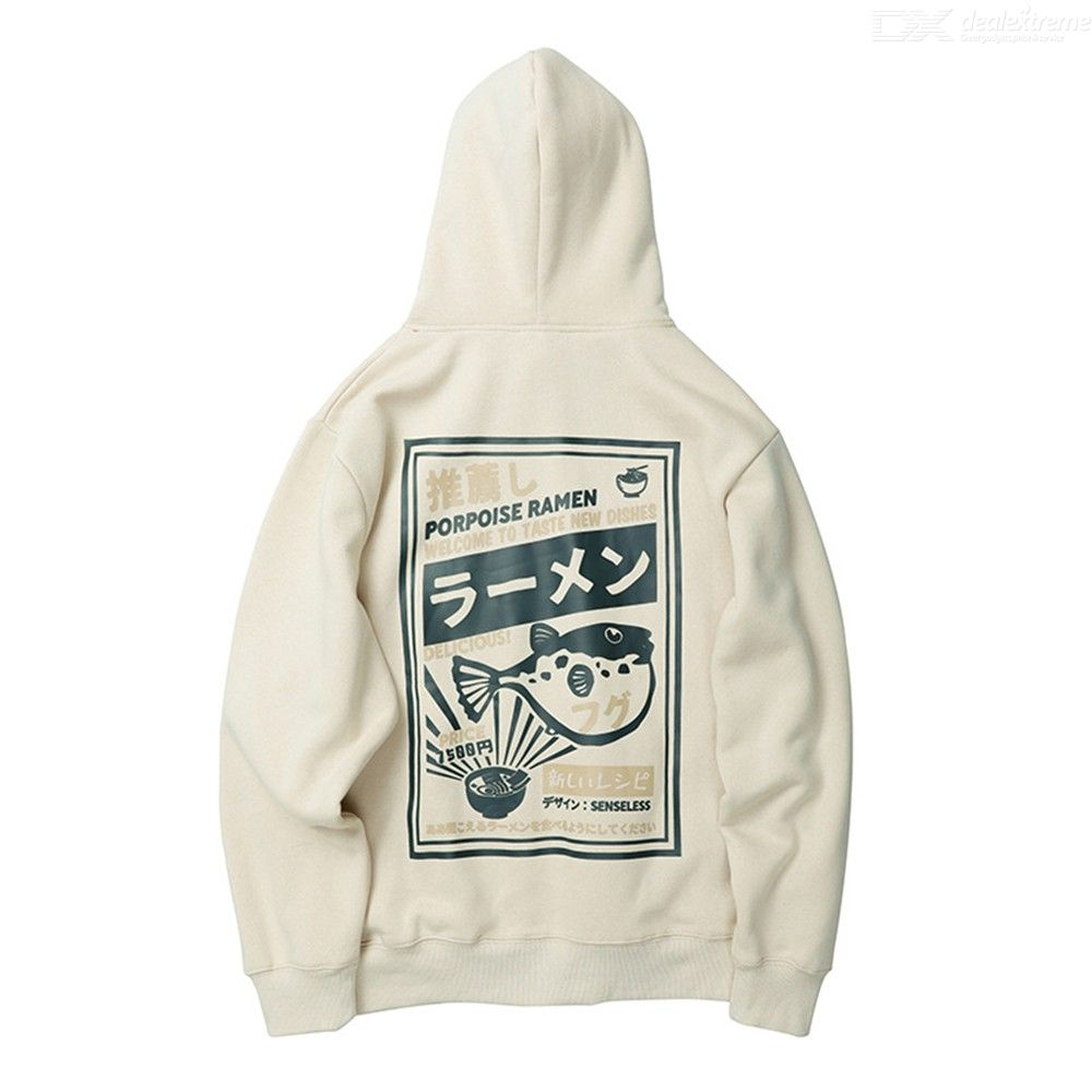 Cartoon Print Pattern Chic Drawstring Fleece Lined Hoodie Loose Hooded Sweatshirt For Men Women