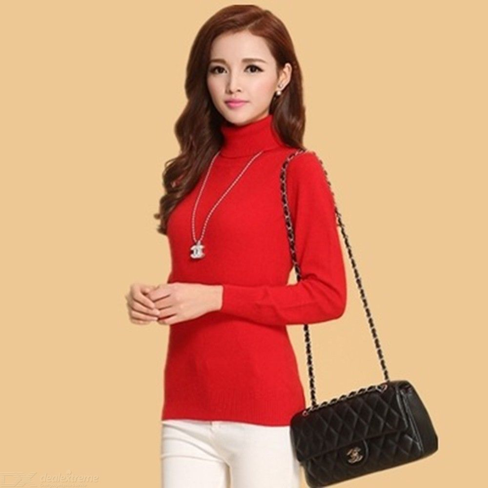 Turtleneck | Cashmere | Pullover | Sweater | Autumn | Winter | Casual | Sleeve | Solid | Color | Women | Long | Top