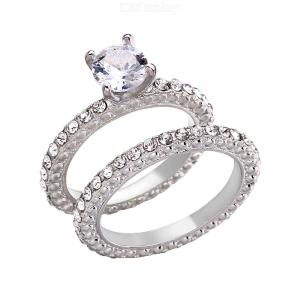 2PCS Matching Couple Rings Set Creative Fashion Alloy Ring Jewelry Gift For Lover Women Men
