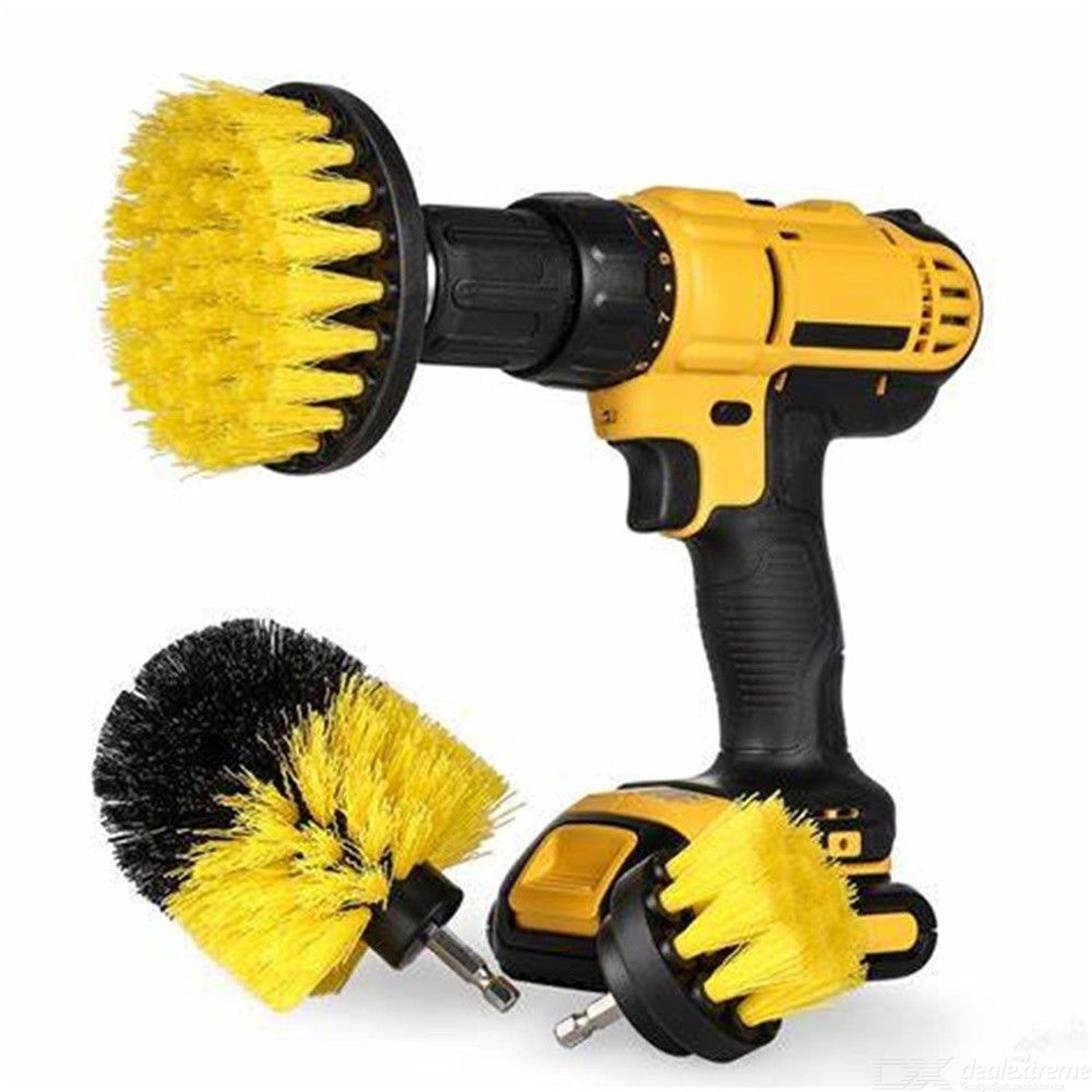 Electric Drill Brush Kit Plastic Round Cleaning Brush For Carpet Glass Car Tool