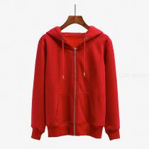 Casual Solid Color Hooded Hoodie Loose Womens Thick Coat