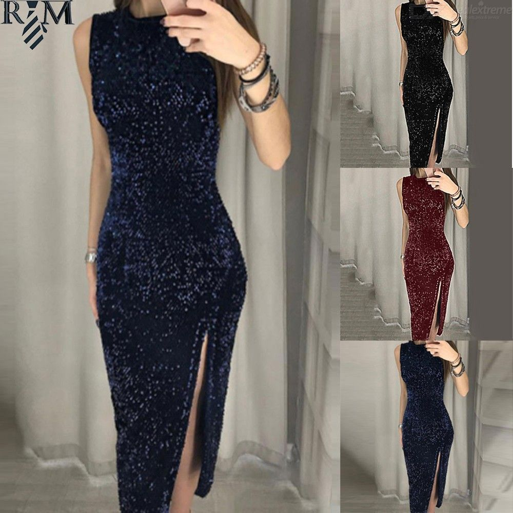 Dealextreme / Women Sleeveless Sequin Bodycon Party Maxi Dress Wedding Prom Formal Dress