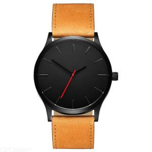 Mens Simple Quartz Watches Stainless Steel Case Leather Strap Business Wrist Watch