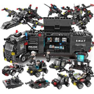 Kids Building Block Toy 8in1 Police Swat Car Armored Vehicle Sets For Boys Girls Puzzle Education DIY Toy