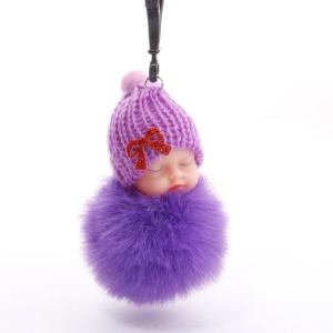 Cute Sleeping Baby Plush Doll Kids Baby Toy Xmas Gift Fur Ball Key Chain Pendant Girl Bag Ornaments Easter Decor