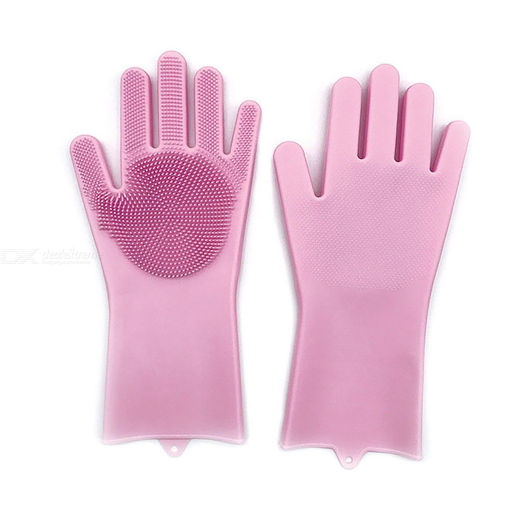 Silicone Gloves With Wash Scrubber Non-Slip Silicon Gloves For Dishwashing Kitchen Bathroom Cleaning
