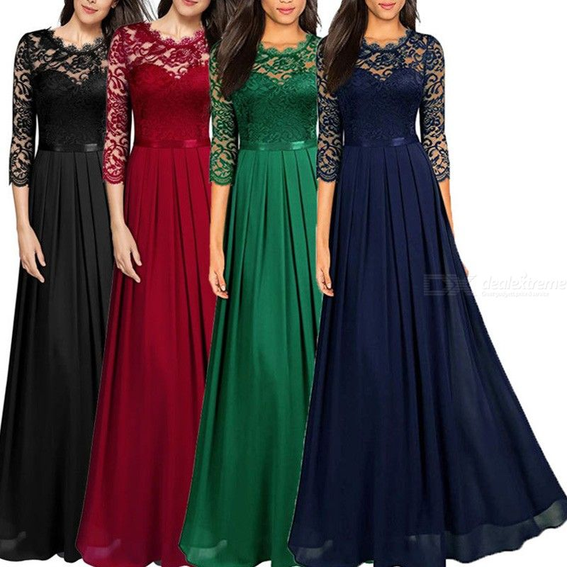 Womens Sexy Hollow-Out Lace Chiffon Patchwork Dress For Banquet Party фото
