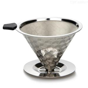 Coffee Dripper Stainless Steel Pour Over Coffee Filter For 2 To 4 Cups With Stand