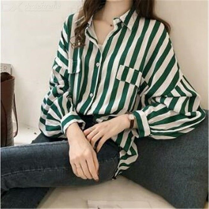 Dealextreme / Women Casual BF Style Long Sleeve Stripe Shirt Top Blouse