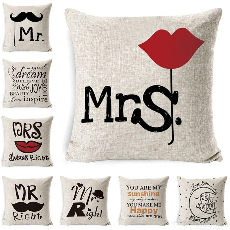 Valentine?//s Day Series Decorative Throw Pillow Soft Letter Print Cushion For Valentine Decoration 45 X 45cm