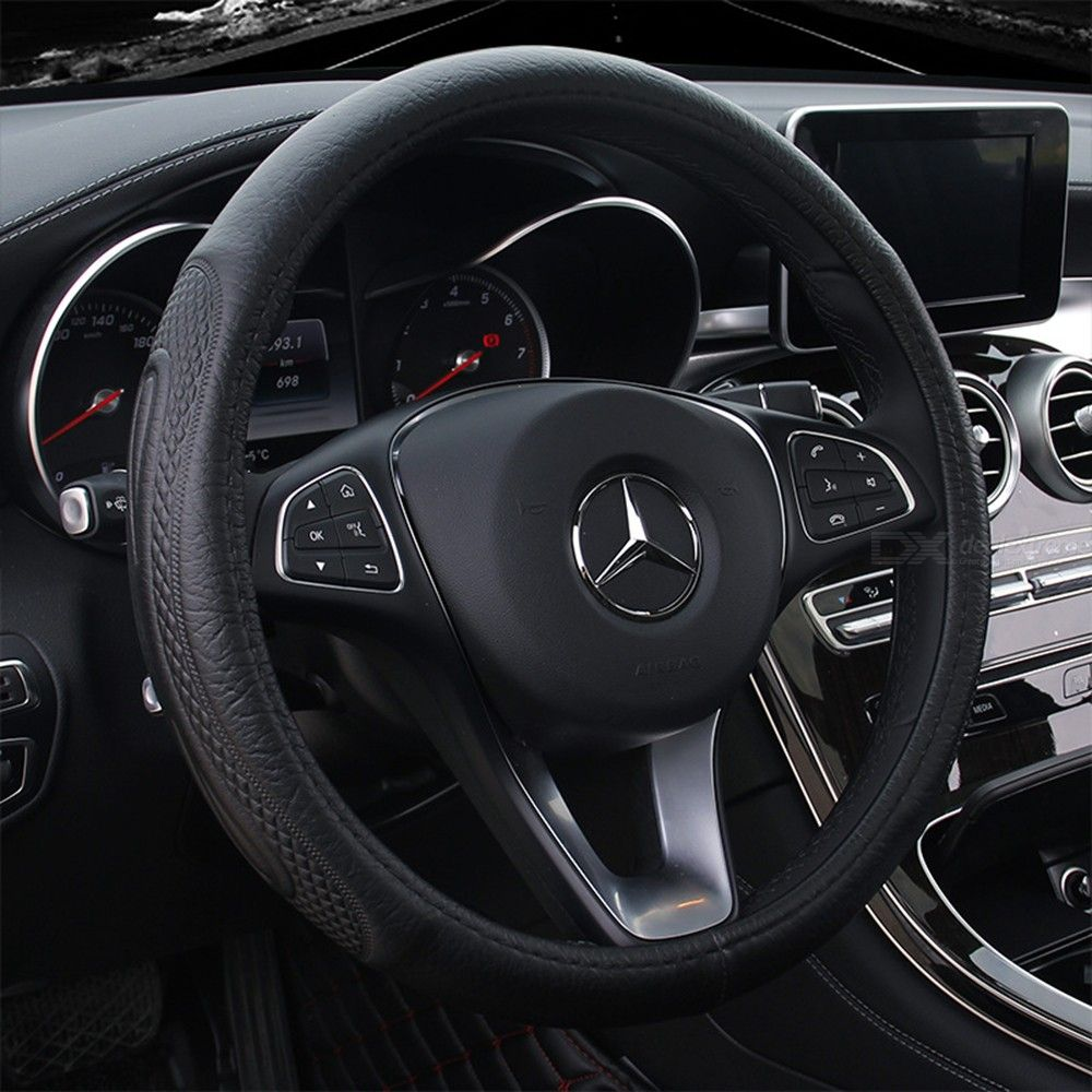 Steering Wheel Cover Leather Truck Steering Wheel Cover Universal 36 Cm/14 Inch, Black фото
