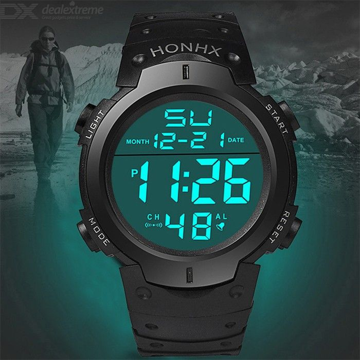 9001-1 Mens Womens Digital Watch Waterproof Large Face Sports Watch With Stop Watch