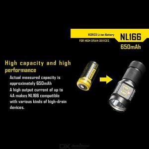 Nitecore NL166 RCR123 3.7V 650mAh 2.4WH Rechargeable Li-on Battery with Protection