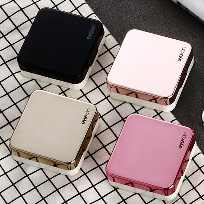Contact Lens Travel Case Stylish Simple Mini Portable Contacts Lens Hard Case Travel Kit With Bottle Tweezers Mirror