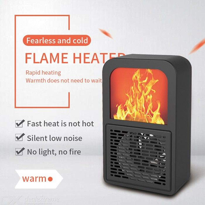 400W Personal Heater 3D Flame Effect Desk Warmer For Office Small Space - EU Plug