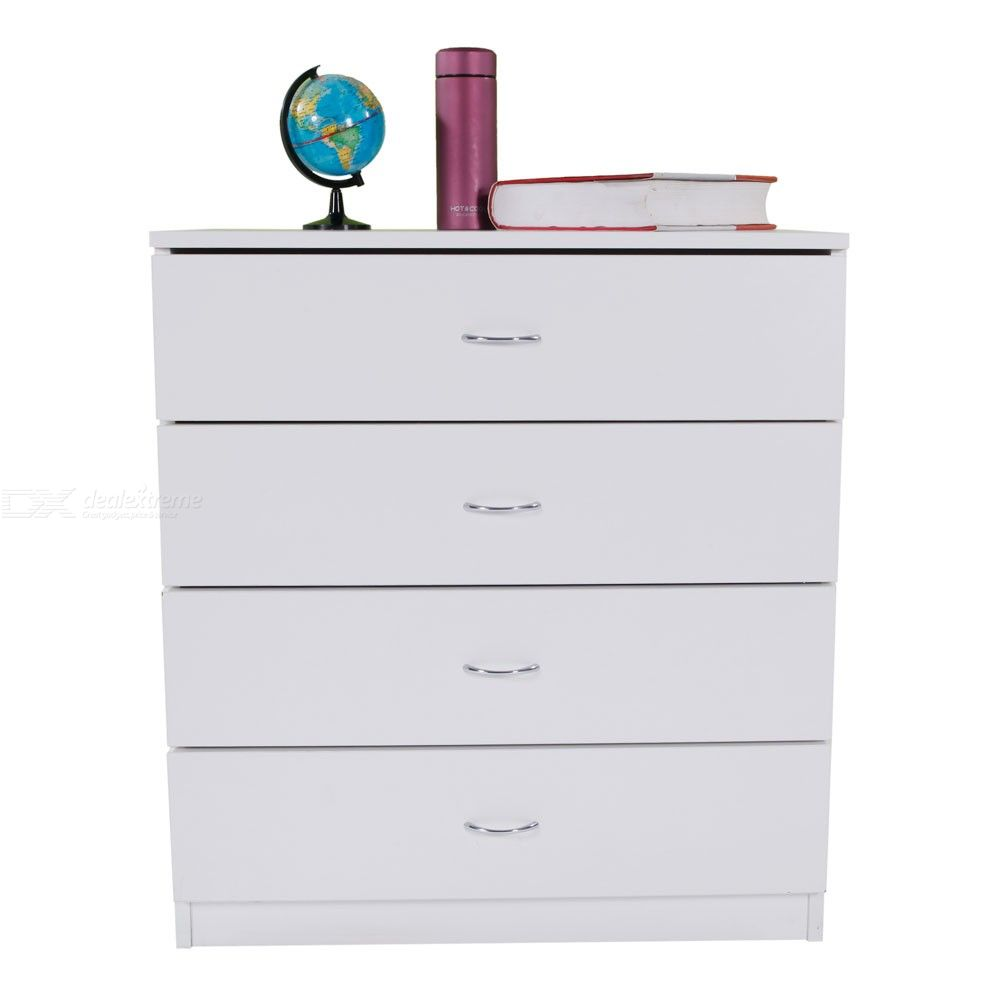 4-drawer Chest For Home Office Wood Storage Cabinet - Ivory