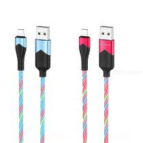 Borofone BU19 Colorful Streamer PVC USB Charge Cable, Flowing LED Light Type-C Micro USB Lightning Charging Data Sync Cord