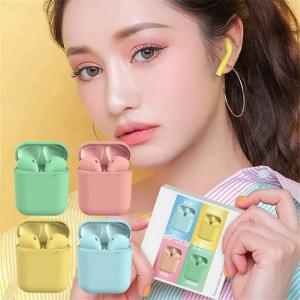 I12 Mini Bluetooth In-Ear Earphone Wireless Earbuds Headset With Macaron Color Matte Charging Case