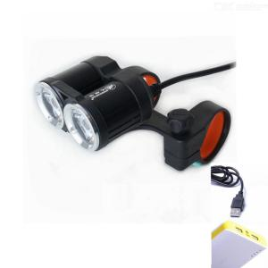 ZHISHUNJIA USB Charging Double T6 Super Bright Strong Light Bicycle Front Light Night Riding Waterproof Light