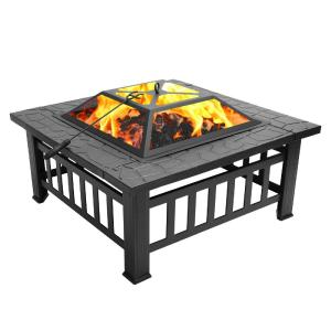 Outdoor Metal Firepit Square Table Wood Burning Fit Pit For Backyard Patio Garden
