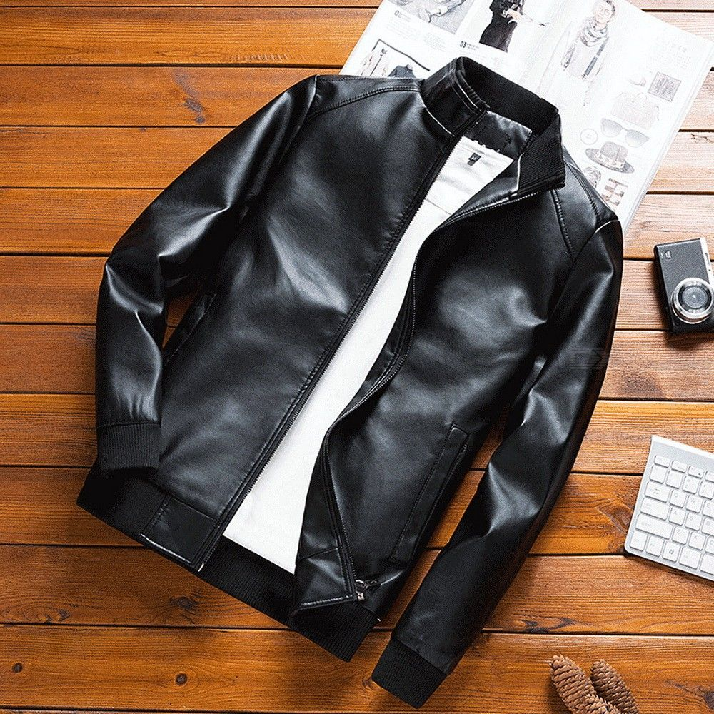 Mens Warm Slim Fit Leather Jacket Winter Thick Fashion PU Coat Velvet Lining Motorcycle Biker Jackets