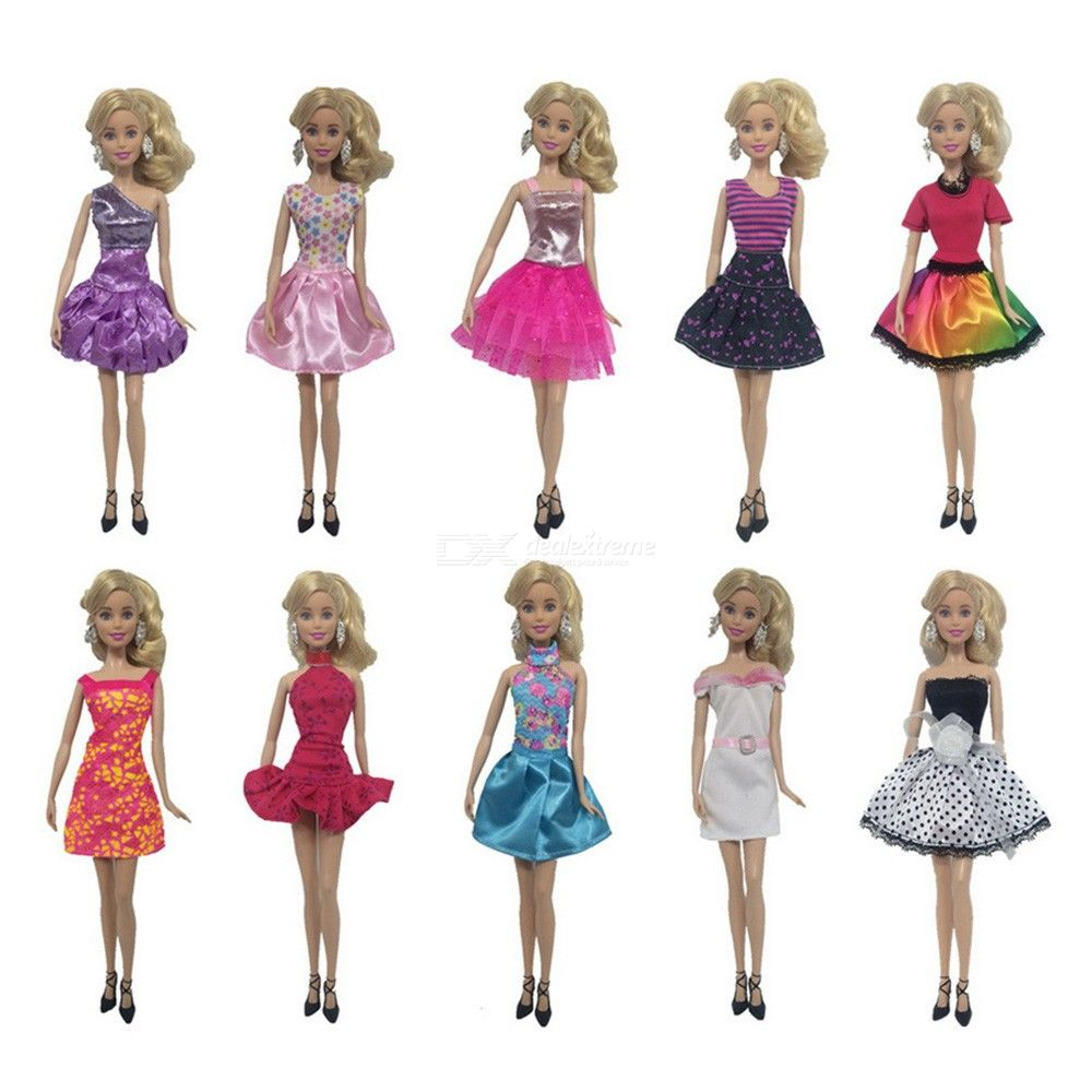 8/10Pcs Doll Dresses Multi-style Fashion Casual Party Costume For Barbie Doll 30cm