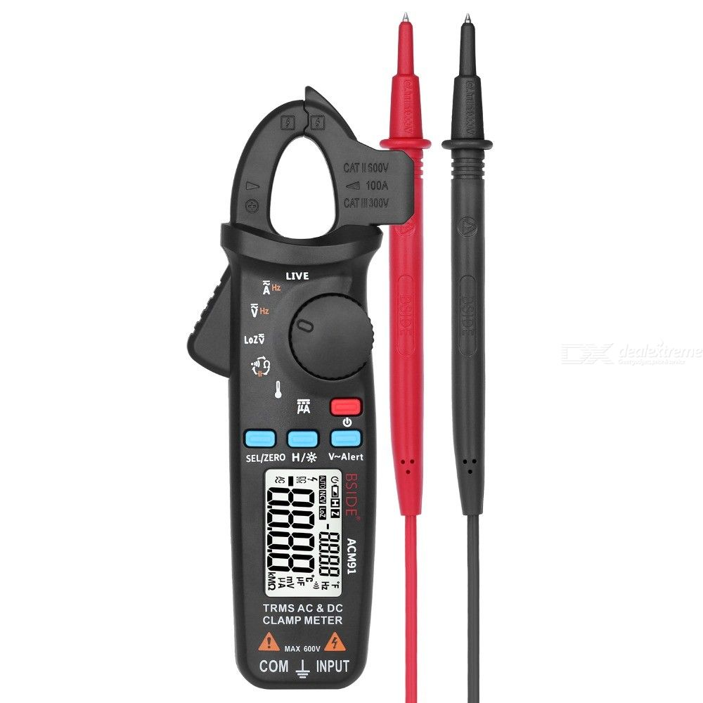 BSIDE ACM91 Digital AC/DC Current Clamp Meter Auto-Range Car Repair TRMS Multimeter NCV Frequency Capacitor Tester