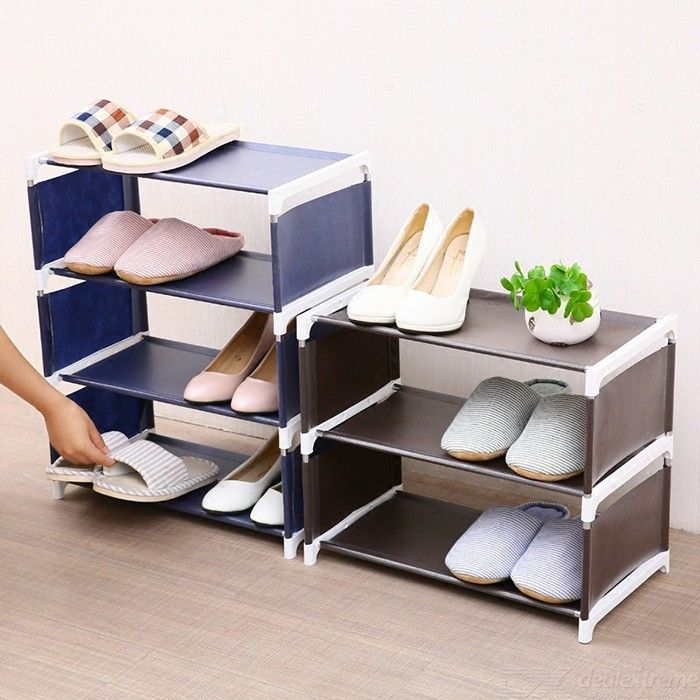 Home 3-tier Shoes Shelf For 6 Pairs Of Shoes Living Room Bedroom Non-weaven Cloth Shoes Storage Rack