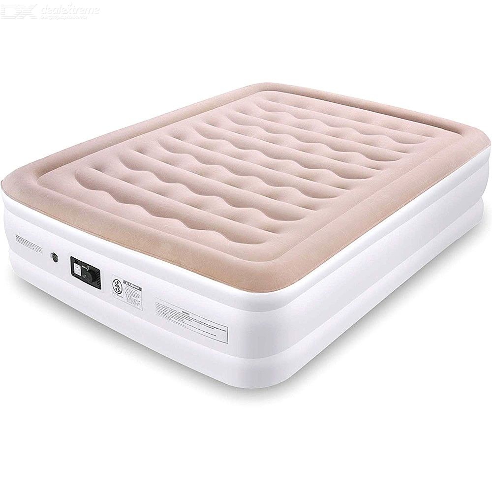 Air Mattress, Blow Up Elevated Raised Air Bed Inflatable Mattress With Built-in Electric Pump, Flocked Fabrics, Extra Thick