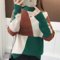 Women's Sweater Autumn Winter Fashionable Warm Color-contrasted Turtle Neck Knitted Pullover Jumper