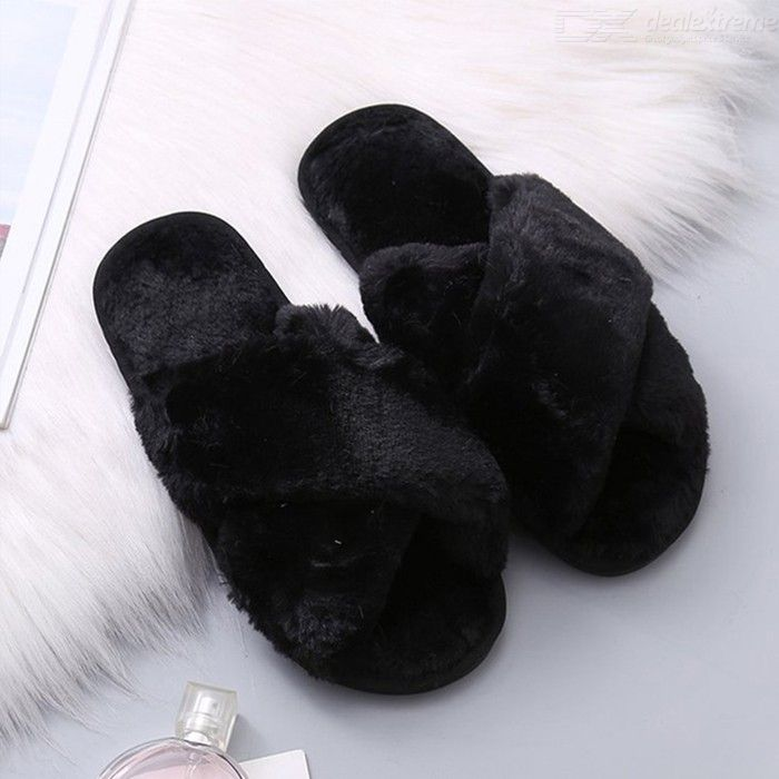 Womens Fuzzy Faux Fur Slippers Warm Open Toe House Shoes Sandals