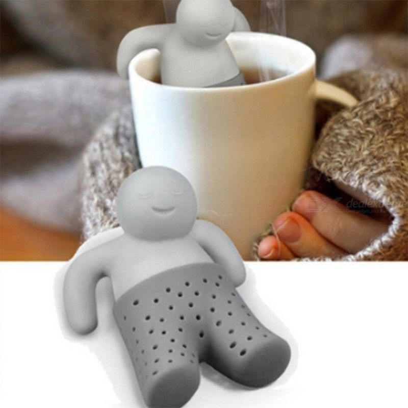 Silicone Tea Strainer, Interesting Cute Mister Teapot MR Little Man People Tea Infuser Filter Brewing Making Teapot